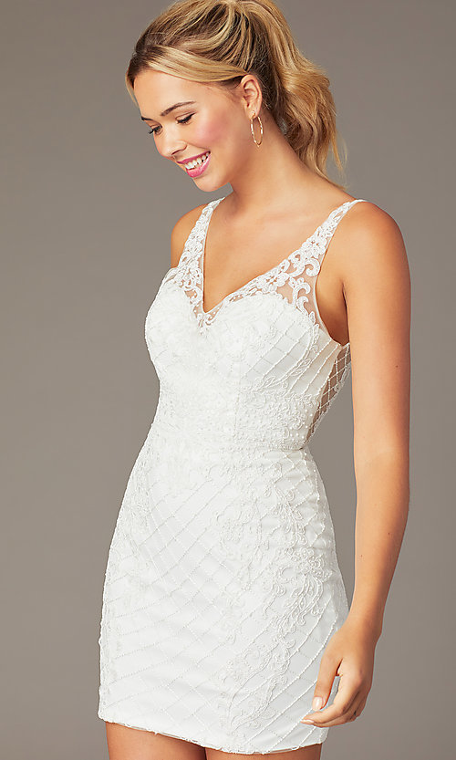 Image of embroidered-mesh short sparkly homecoming dress. Style: NA-A673 Detail Image 5