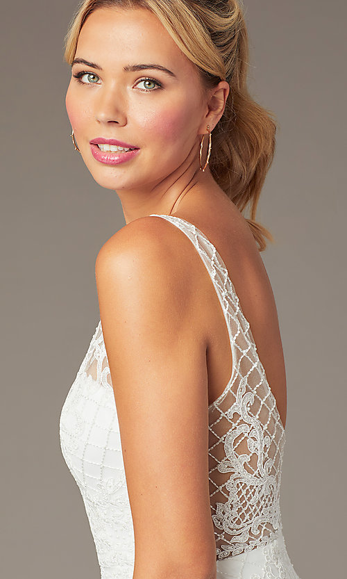 Image of embroidered-mesh short sparkly homecoming dress. Style: NA-A673 Detail Image 6