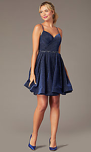 Image of glitter-knit short navy blue homecoming dress. Style: NA-PL-T681 Front Image