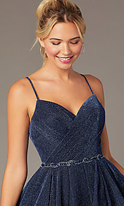 Image of glitter-knit short navy blue homecoming dress. Style: NA-PL-T681 Detail Image 1