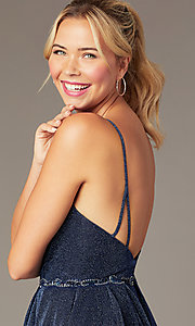 Image of glitter-knit short navy blue homecoming dress. Style: NA-PL-T681 Detail Image 2
