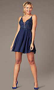 Image of short chiffon beaded-bodice homecoming dress. Style: NA-PL-G698 Detail Image 1