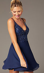 Image of short chiffon beaded-bodice homecoming dress. Style: NA-PL-G698 Front Image