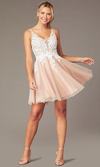 Short Tan Homecoming Party Dress with Cut-Out Back