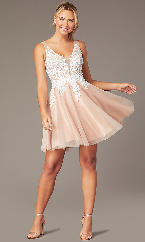 Image of short tan homecoming party dress with cut-out back. Style: NA-PL-G669 Front Image
