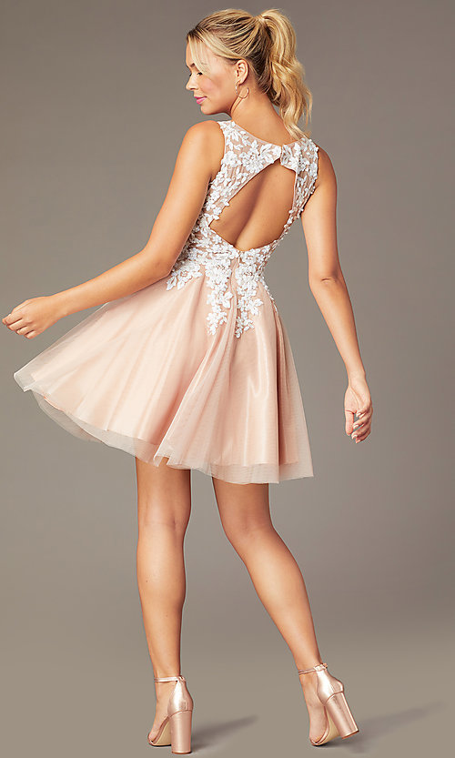 Image of short tan homecoming party dress with cut-out back. Style: NA-PL-G669 Back Image