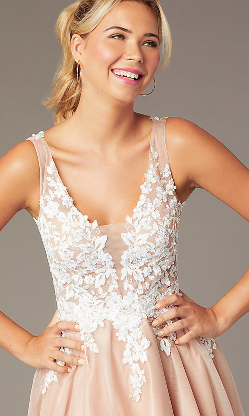Image of short tan homecoming party dress with cut-out back. Style: NA-PL-G669 Detail Image 1