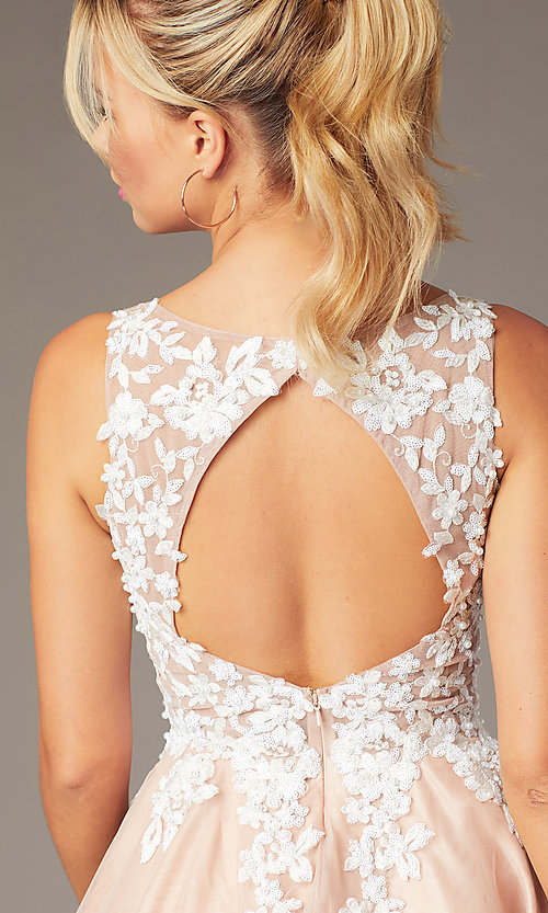 Image of short tan homecoming party dress with cut-out back. Style: NA-PL-G669 Detail Image 2