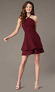 Image of tiered-skirt short burgundy homecoming party dress. Style: SS-D75791J593 Front Image