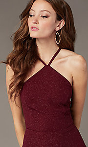 Image of tiered-skirt short burgundy homecoming party dress. Style: SS-D75791J593 Detail Image 1