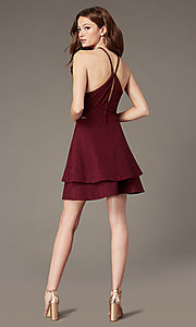 Image of tiered-skirt short burgundy homecoming party dress. Style: SS-D75791J593 Back Image