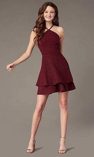 Tiered-Skirt Short Burgundy Homecoming Party Dress