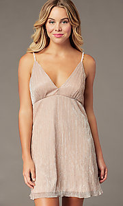 Image of metallic-crepe short empire-waist party dress. Style: SS-D79361DCP Front Image