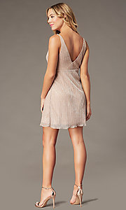 Image of metallic-crepe short empire-waist party dress. Style: SS-D79361DCP Back Image