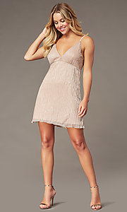 Image of metallic-crepe short empire-waist party dress. Style: SS-D79361DCP Detail Image 2