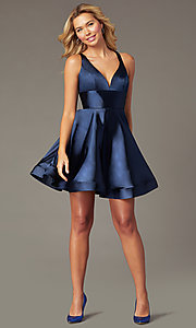 Image of short a-line satin party dress with v-neckline. Style: TE-PL-4087 Front Image