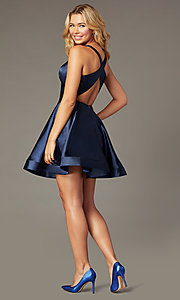 Image of short a-line satin party dress with v-neckline. Style: TE-PL-4087 Back Image