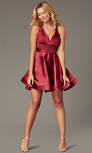 Image of short a-line satin party dress with v-neckline. Style: TE-PL-4087 Detail Image 2