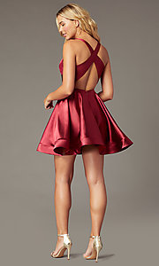 Image of short a-line satin party dress with v-neckline. Style: TE-PL-4087 Detail Image 3