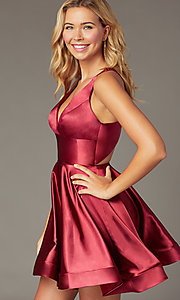 Image of short a-line satin party dress with v-neckline. Style: TE-PL-4087 Detail Image 4