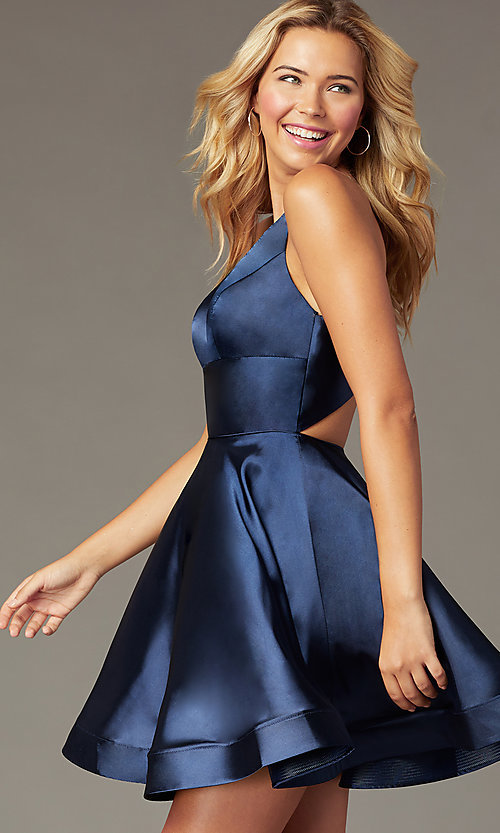 Image of short a-line satin party dress with v-neckline. Style: TE-PL-4087 Detail Image 1