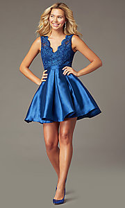 Image of short navy taffeta homecoming dress with pockets. Style: LP-PL-26473 Detail Image 1