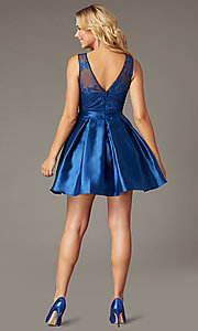 Image of short navy taffeta homecoming dress with pockets. Style: LP-PL-26473 Back Image