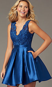 Image of short navy taffeta homecoming dress with pockets. Style: LP-PL-26473 Front Image