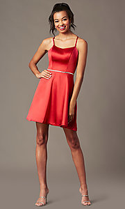 Image of burgundy short sweetheart a-line party dress. Style: FB-GS2855 Front Image