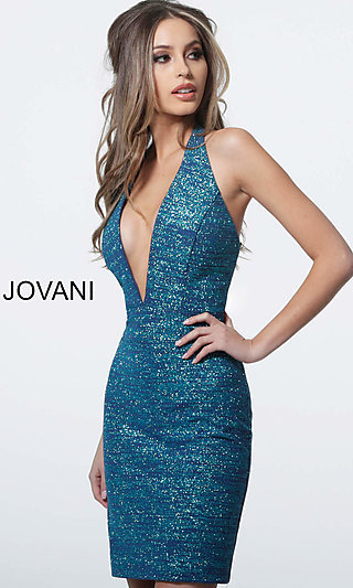 Open-Back Glitter Homecoming Dress by Jovani
