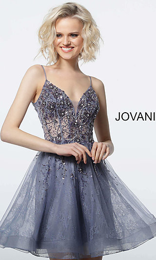 Short V-Neck Homecoming Dress with a Sheer Bodice