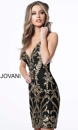 Short Sequin-Patterned Homecoming Dress by Jovani