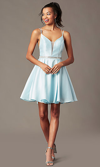 Short Homecoming Party Dress with Rhinestones