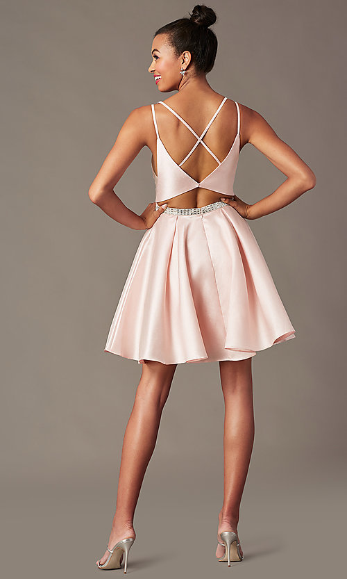 Image of short homecoming party dress with rhinestones. Style: FB-PL-GS2844 Detail Image 4