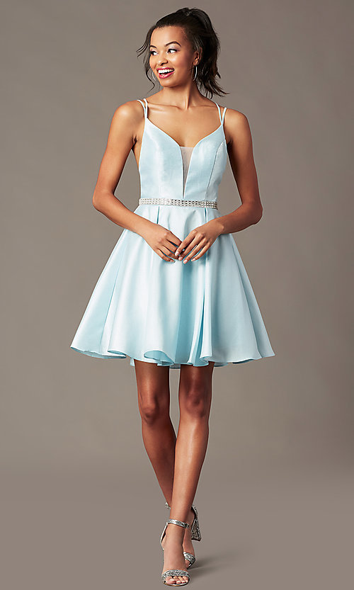 Image of short homecoming party dress with rhinestones. Style: FB-PL-GS2844 Front Image
