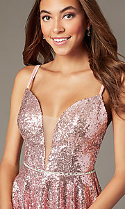 Image of short a-line mauve sequin v-neck hoco party dress. Style: FB-PL-GS2848 Detail Image 1