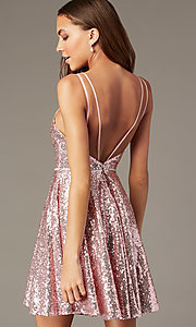 Image of short a-line mauve sequin v-neck hoco party dress. Style: FB-PL-GS2848 Back Image