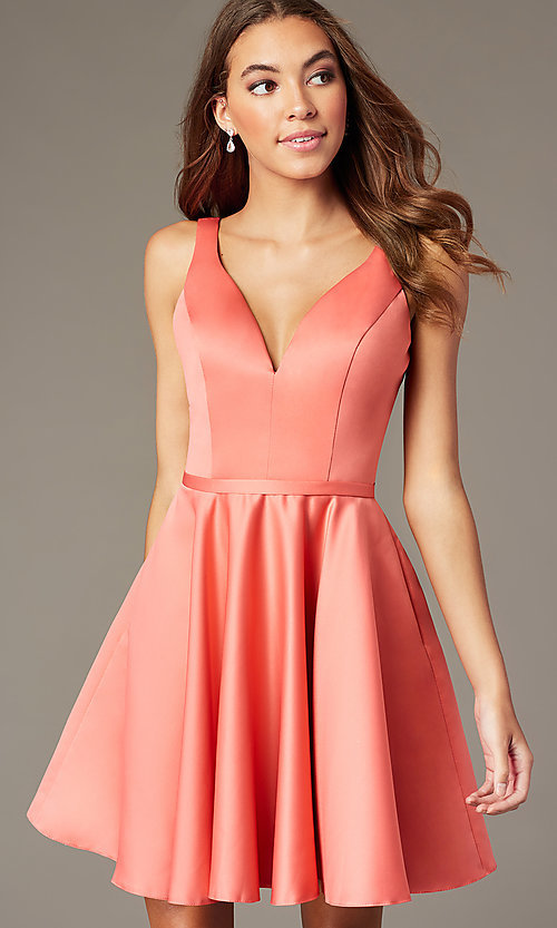 Image of short homecoming party dress with side pockets. Style: FB-GS2854 Front Image