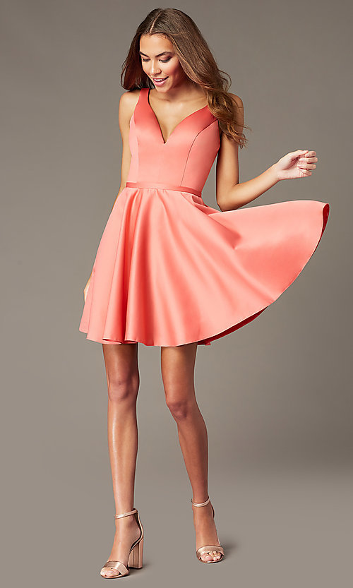 Image of short homecoming party dress with side pockets. Style: FB-GS2854 Detail Image 1