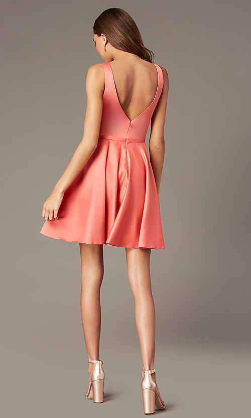 Image of short homecoming party dress with side pockets. Style: FB-GS2854 Detail Image 2