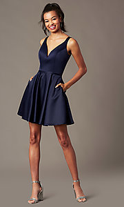 Image of navy blue short satin party dress with pockets. Style: FB-PL-GS2854 Front Image