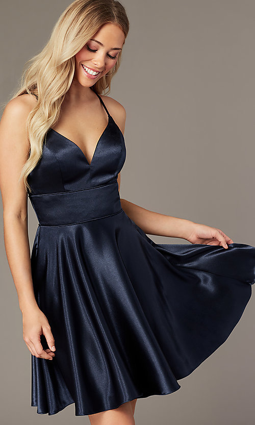 Image of open-back satin v-neck short homecoming dress. Style: FB-PL-GS2859 Front Image