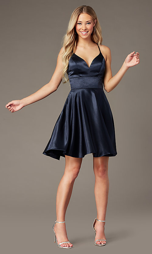 Image of open-back satin v-neck short homecoming dress. Style: FB-PL-GS2859 Detail Image 1
