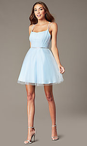 Image of beaded-waist short a-line homecoming party dress. Style: FB-PL-GS2867 Detail Image 1