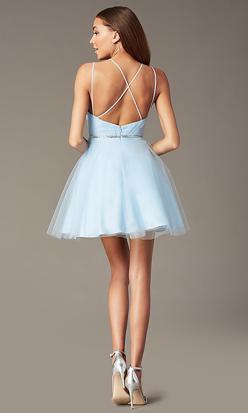 Image of beaded-waist short a-line homecoming party dress. Style: FB-PL-GS2867 Back Image
