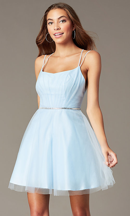 Image of beaded-waist short a-line homecoming party dress. Style: FB-PL-GS2867 Front Image