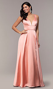 Image of long formal prom dress with open-back cut out. Style: DJ-A7454-v Front Image