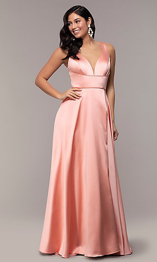 Long Formal Prom Dress with Open-Back Cut Out