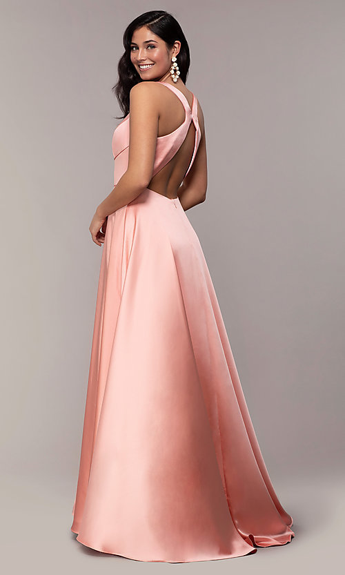 Image of long formal prom dress with open-back cut out. Style: DJ-A7454-v Back Image