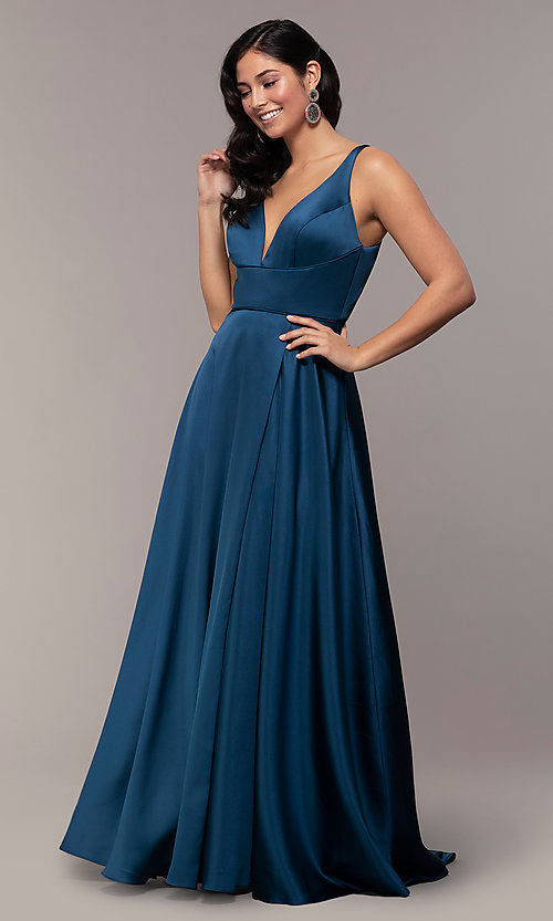 Image of long formal prom dress with open-back cut out. Style: DJ-A7454-v Detail Image 2